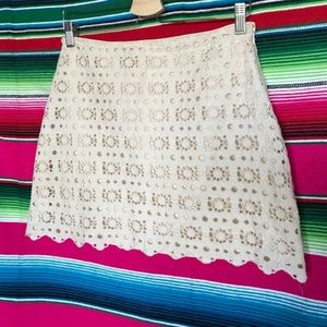 J Crew Lace Eyelet Mini Skirt